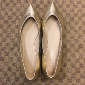 NWT gold Marc Fisher leather flats shoes